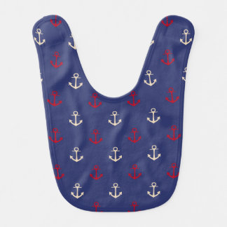 Red And Navy Blue Nautical Anchors Pattern Bib