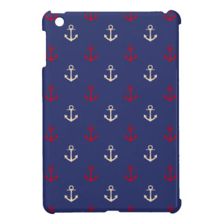 Red And Navy Blue Nautical Anchors Pattern iPad Mini Cases