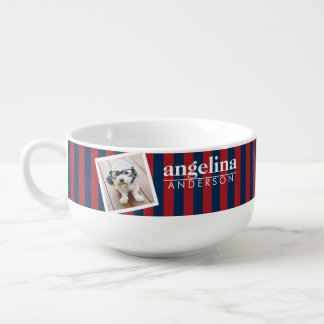 Red and Navy Striped Pattern Custom Name and Photo Soup Bowl With Handle