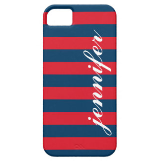 Red and Navy Stripes | Script Monogram iPhone 5 Covers
