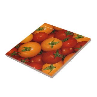 Red and Orange Cherry Tomatoes Ceramic Tile