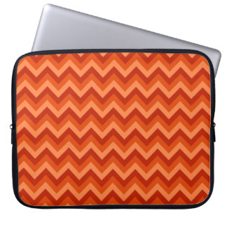 Red and Orange Chevron Stripes. Laptop Computer Sleeves