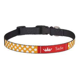 Red And Orange Crown With Polka Dots Pet Collar