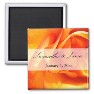Red and Orange Flaming Rose Magnet
