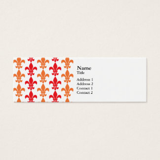 Red and Orange Fleur de Lis Pattern Mini Business Card