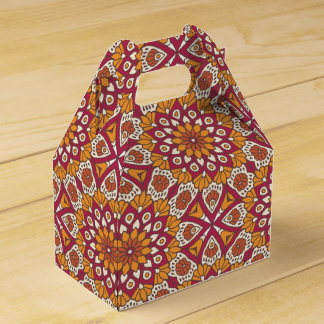 Red and Orange Floral Mandala Favour Box