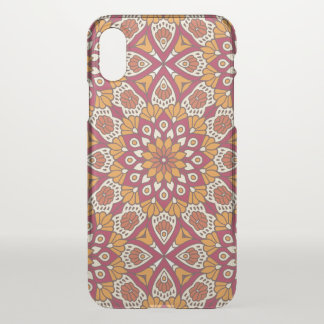 Red and Orange Floral Mandala iPhone X Case