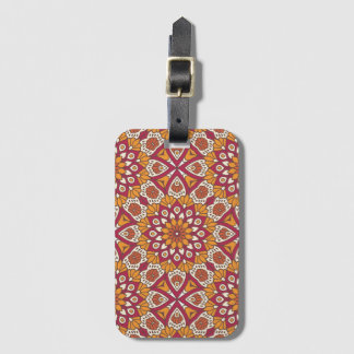 Red and Orange Floral Mandala Luggage Tag