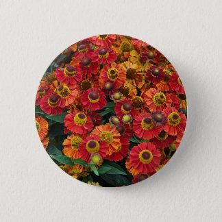 Red and orange helenium flowers 6 cm round badge