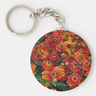 Red and orange helenium flowers key ring
