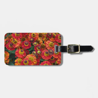 Red and orange helenium flowers luggage tag