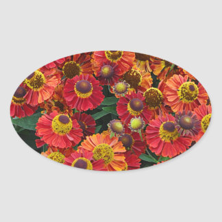 Red and orange helenium flowers oval sticker