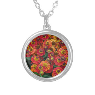 Red and orange helenium flowers silver plated necklace