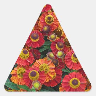 Red and orange helenium flowers triangle sticker
