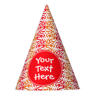 Red and Orange Mod Pattern Custom Party Hat