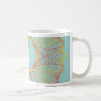 Red and orange spirograph coffee mug