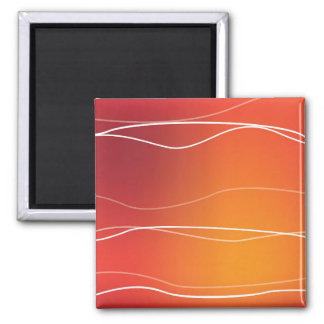 Red and Orange Waves Square Magnet