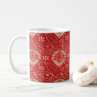 Red And Pale Gold Paisley Coffee Mug