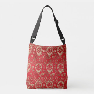 Red And Pale Gold Paisley Crossbody Bag