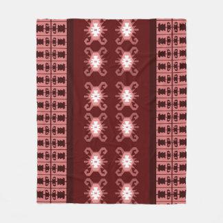"Red and pale pink Balkan kilim ""Turtle"" inspired Fleece Blanket"