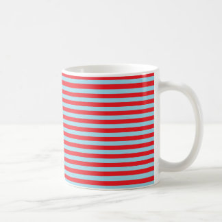 Red and Pastel Blue Stripes Coffee Mug