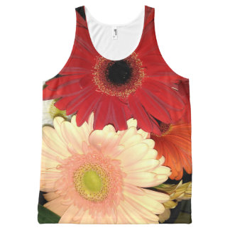 Red and Peach Gerbera Daisy All-Over Print Singlet