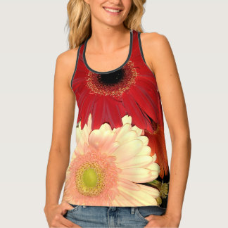 Red and Peach Gerbera Daisy Singlet