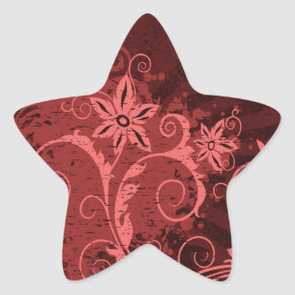 Red and Pink Abstract Flower Star Sticker