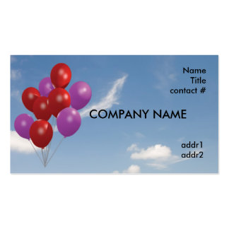 red and pink balloons business card