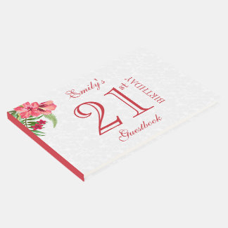 Red And Pink Exotic Flowers And White Damask Guest Book