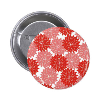 Red and Pink Flower Blossoms Floral Print Pinback Buttons