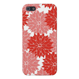 Red and Pink Flower Blossoms Floral Print Cover For iPhone 5/5S