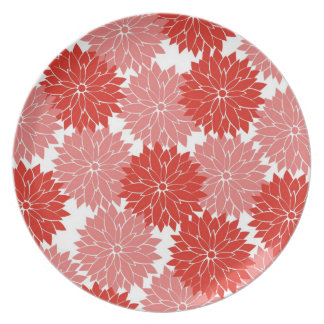Red and Pink Flower Blossoms Floral Print Party Plates