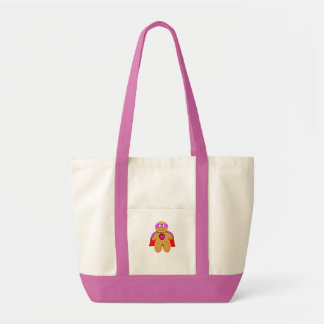 red and pink gingerbread man super hero character impulse tote bag