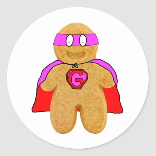 red and pink gingerbread man super hero sticker