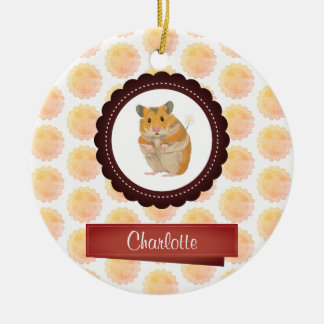 Red and Pink Girls Hamster Ceramic Ornament