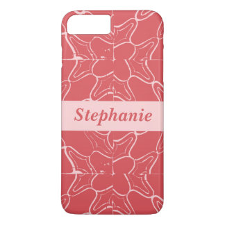 Red and Pink Grunge Tile Pattern Personalized name iPhone 8 Plus/7 Plus Case