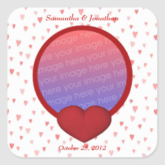 Red And Pink Hearts Photo Wedding Sticker