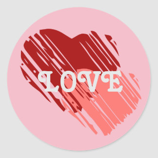 Red and Pink Hearts Round Sticker