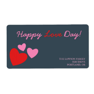 Red and Pink Hearts -valentine 's day label Shipping Label