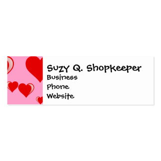 Red and Pink Hearts Valentine's Day Pattern Business Cards