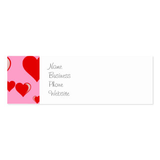 Red and Pink Hearts Valentine's Day Pattern Business Card Template