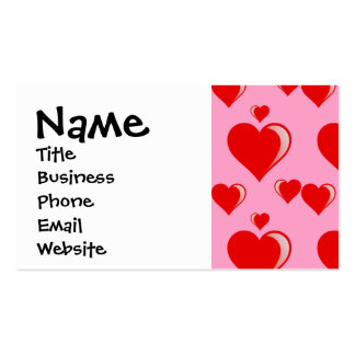 Red and Pink Hearts Valentine's Day Pattern Business Card Templates