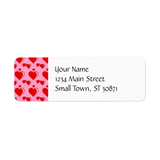 Red and Pink Hearts Valentine's Day Pattern Return Address Label
