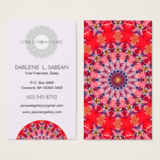 Red and Pink Mandala Kaleidoscope Business Card