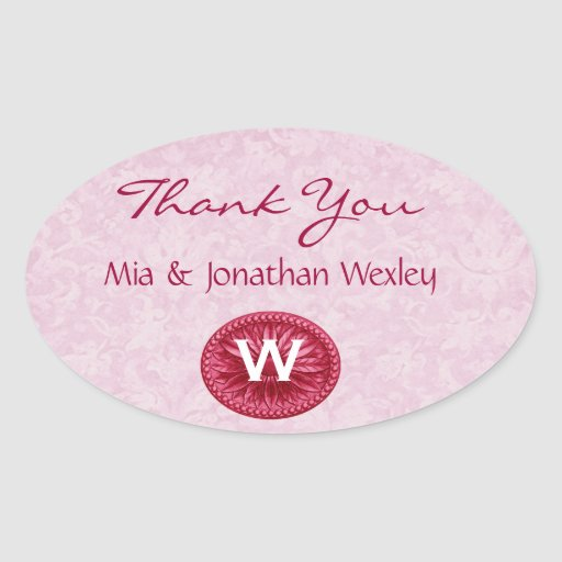 Red and Pink Monogram Wedding Thank You G200 Oval Stickers