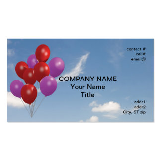 red and pink party balloons business card template