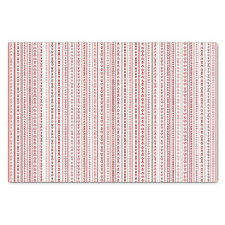 Red and Pink Paw Print Stripe Tissue Paper