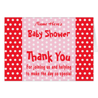 Red and Pink Polka Dot, Custom Baby Shower Card