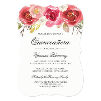 Red and Pink Quinceañera Invitation
